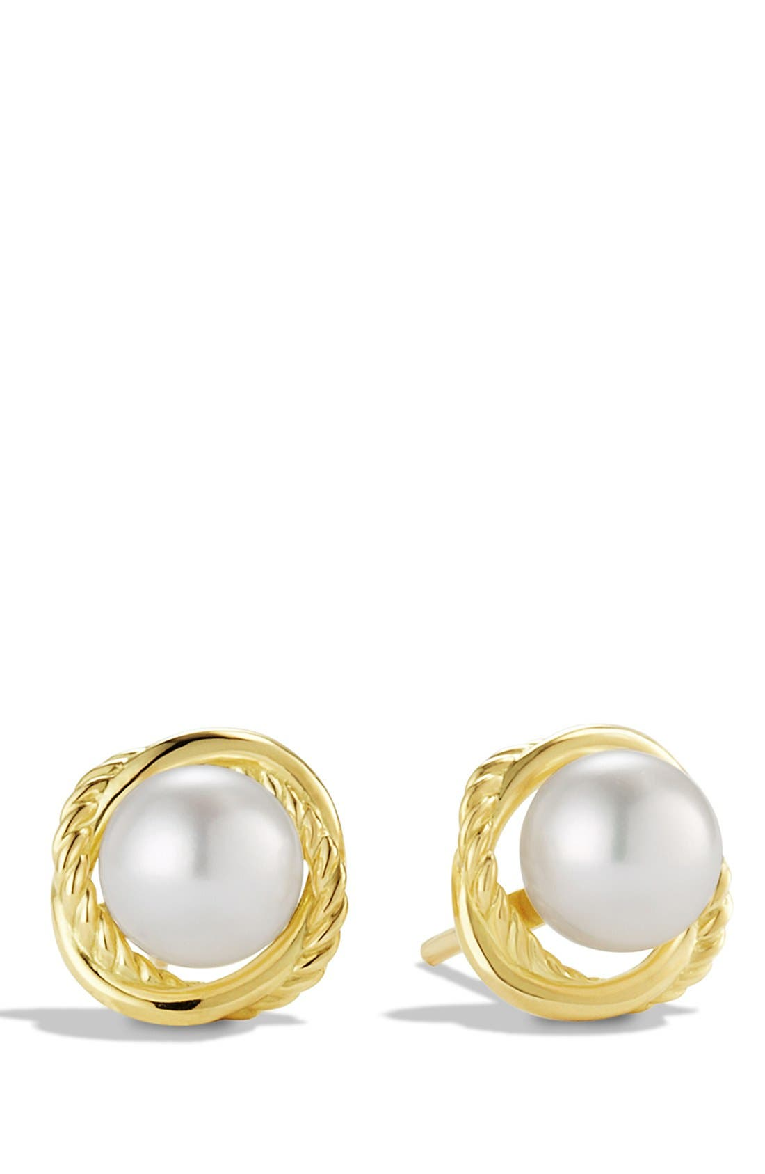 'Infinity' Earrings with Pearls in Gold,                             Main thumbnail 1, color,                             Pearl