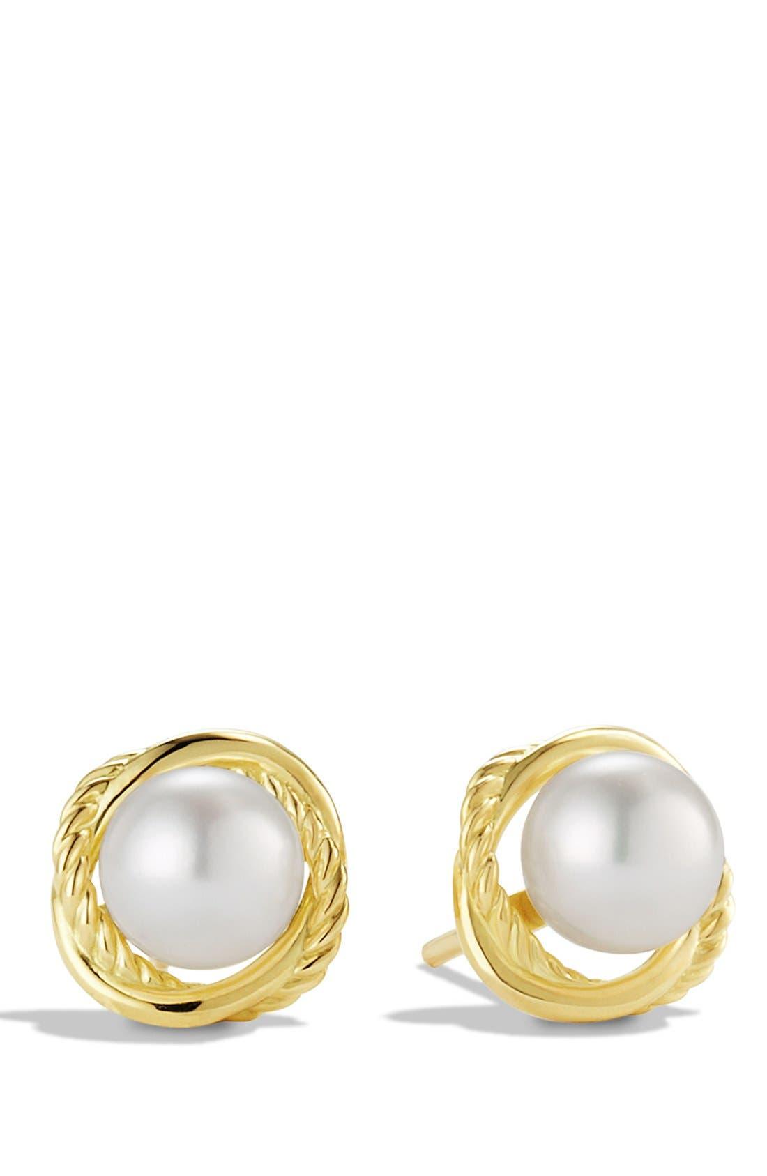 David Yurman 'Infinity' Earrings with Pearls in Gold