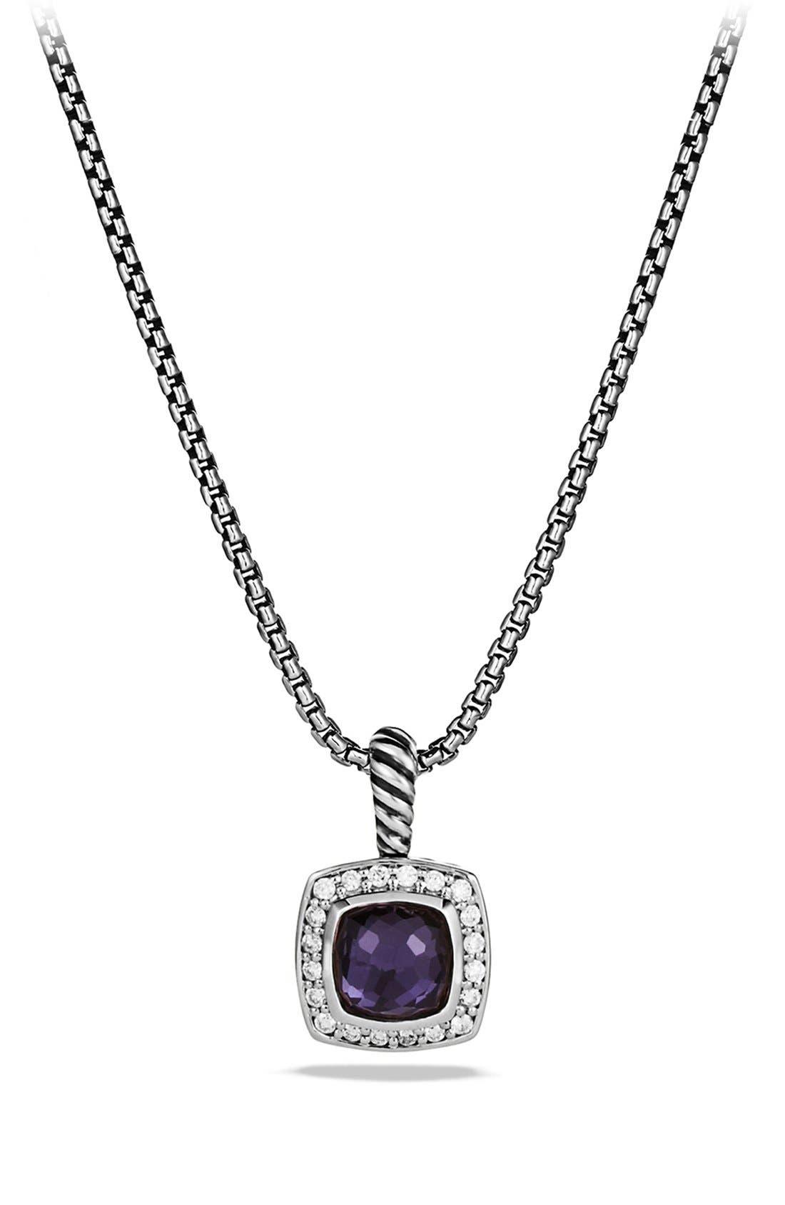 'Albion' Petite Pendant with Semiprecious Stone & Diamonds on Chain,                         Main,                         color, Black Orchid