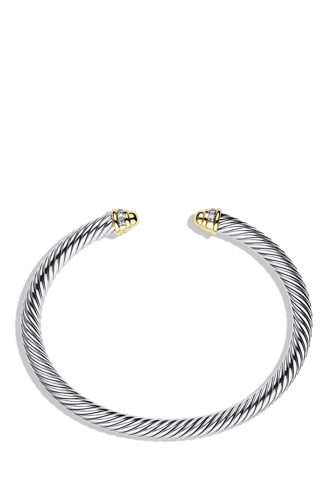 Cable Classics Bracelet with 18K Gold Domes & Diamonds, 5mm,                             Alternate thumbnail 2, color,                             Gold Dome