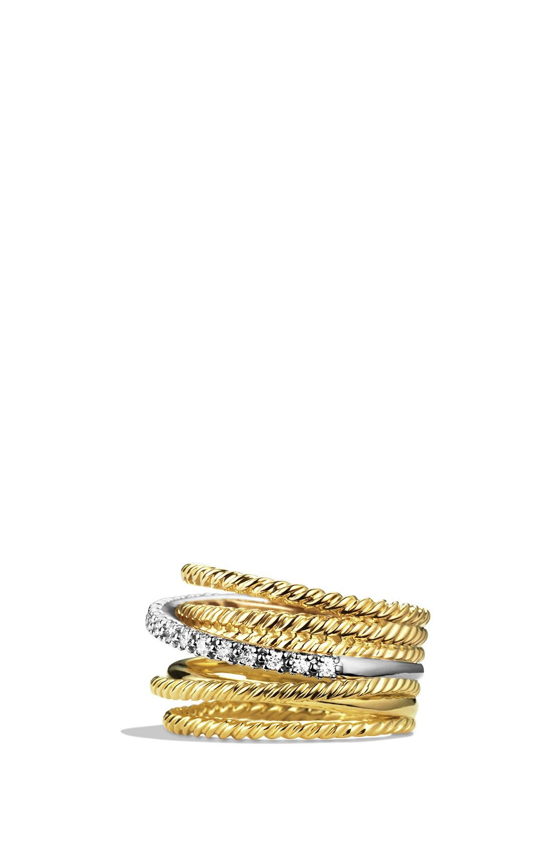 'DY Crossover' Ring with Diamonds in Gold,                             Alternate thumbnail 2, color,                             Diamond