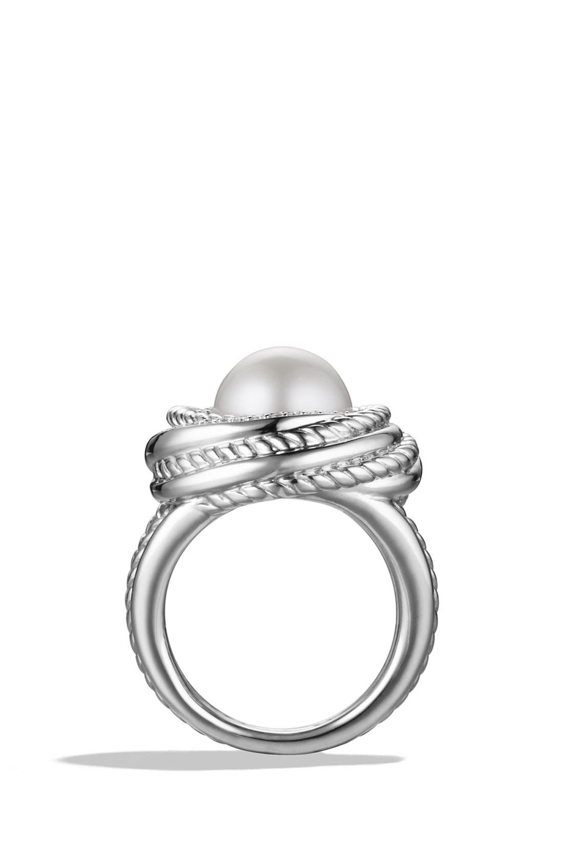 'Pearl Crossover' Ring with Diamonds,                             Alternate thumbnail 4, color,                             Pearl