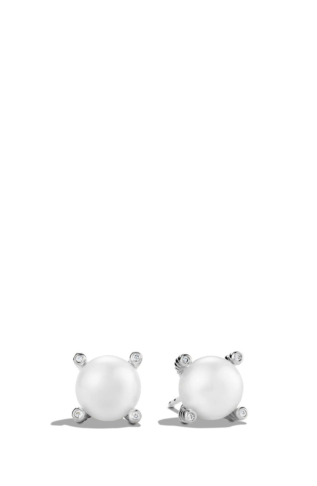 Pearl & Diamond Stud Earrings,                         Main,                         color, Silver Pearl