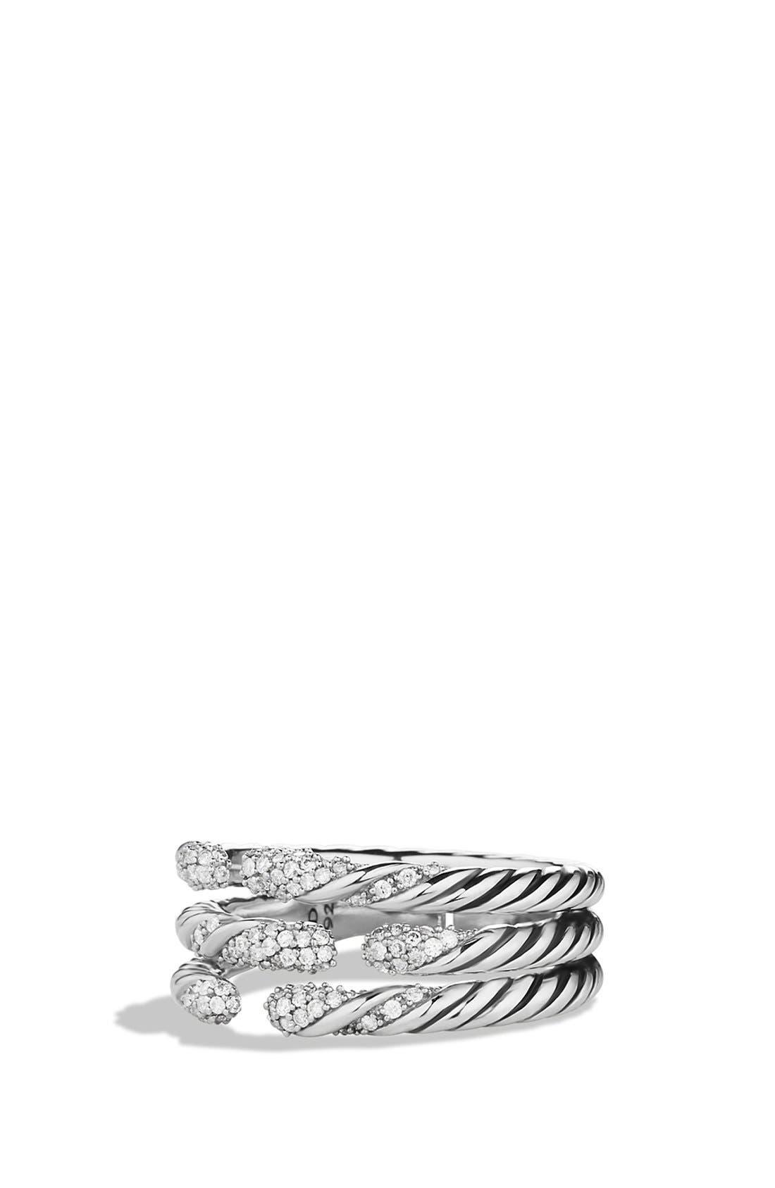 David Yurman 'Willow' Three-Row Ring with Diamonds