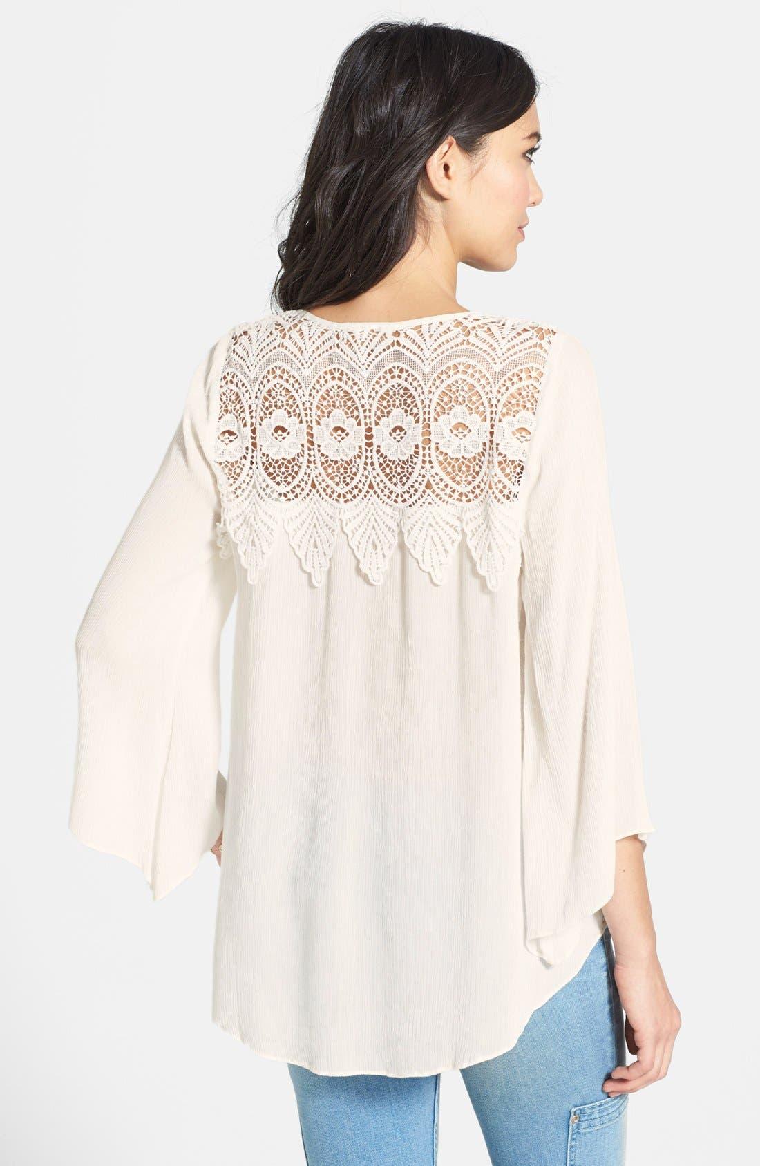 Alternate Image 2  - ASTR Crocheted Shoulder Gauze High/Low Top