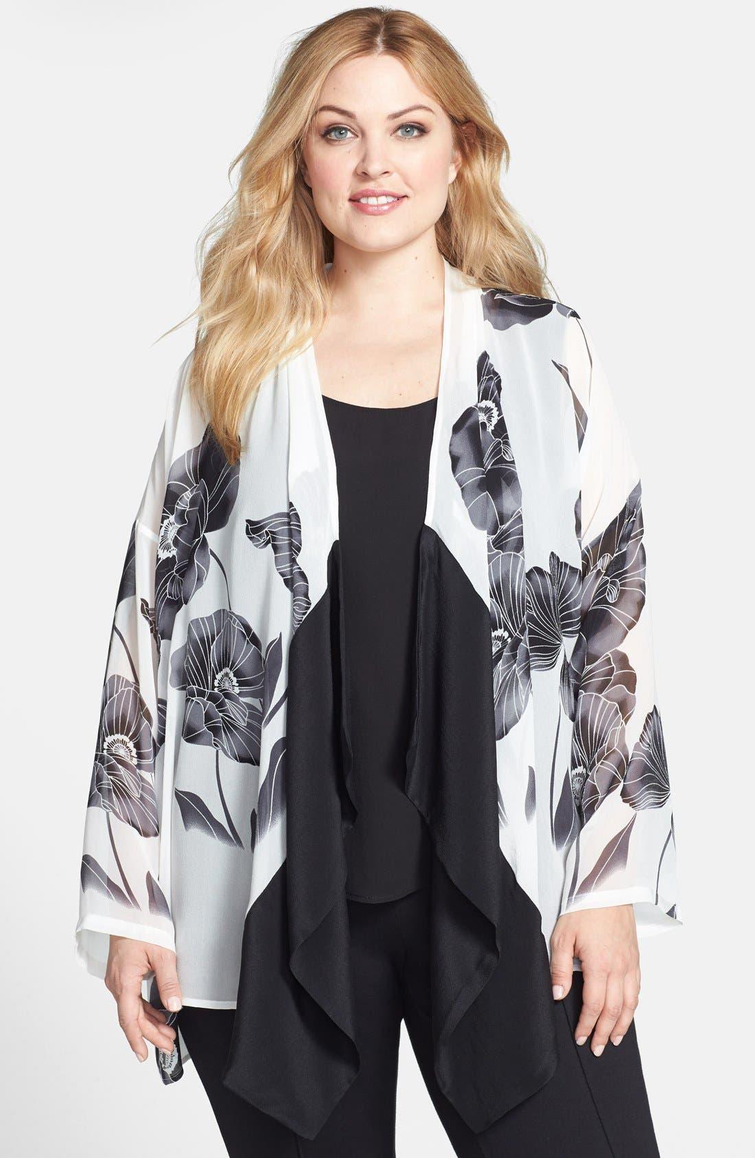 Main Image - Citron Floral Print Drape Front Jacket (Plus Size)