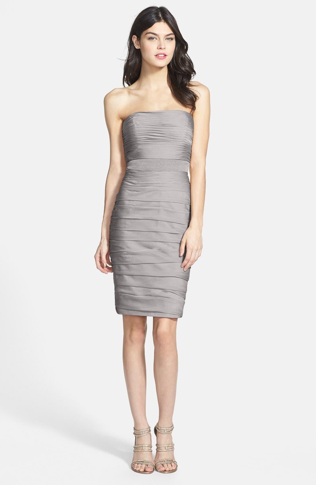 Alternate Image 3  - Monique Lhuillier Bridesmaids Ruched Strapless Cationic Chiffon Dress (Nordstrom Exclusive) (Regular & Plus Size)