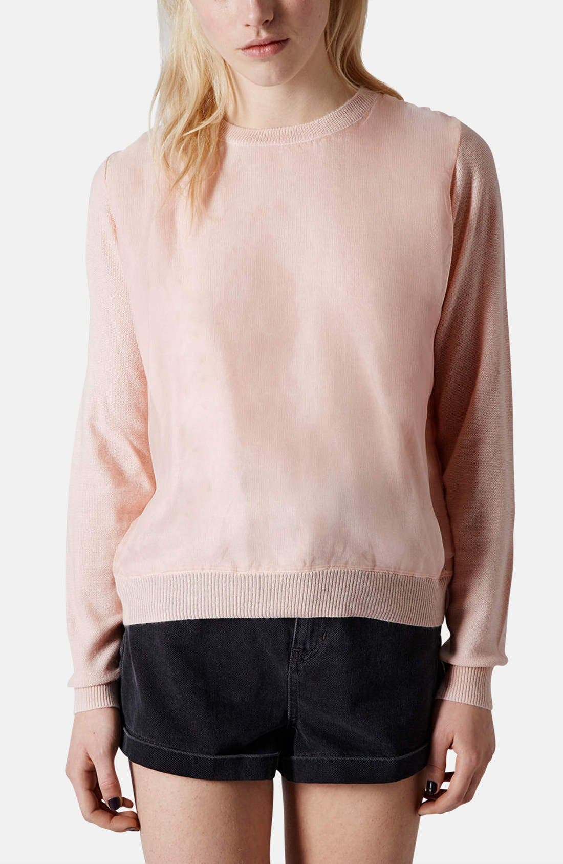 Alternate Image 1 Selected - Topshop Organza Overlay Knit Sweater