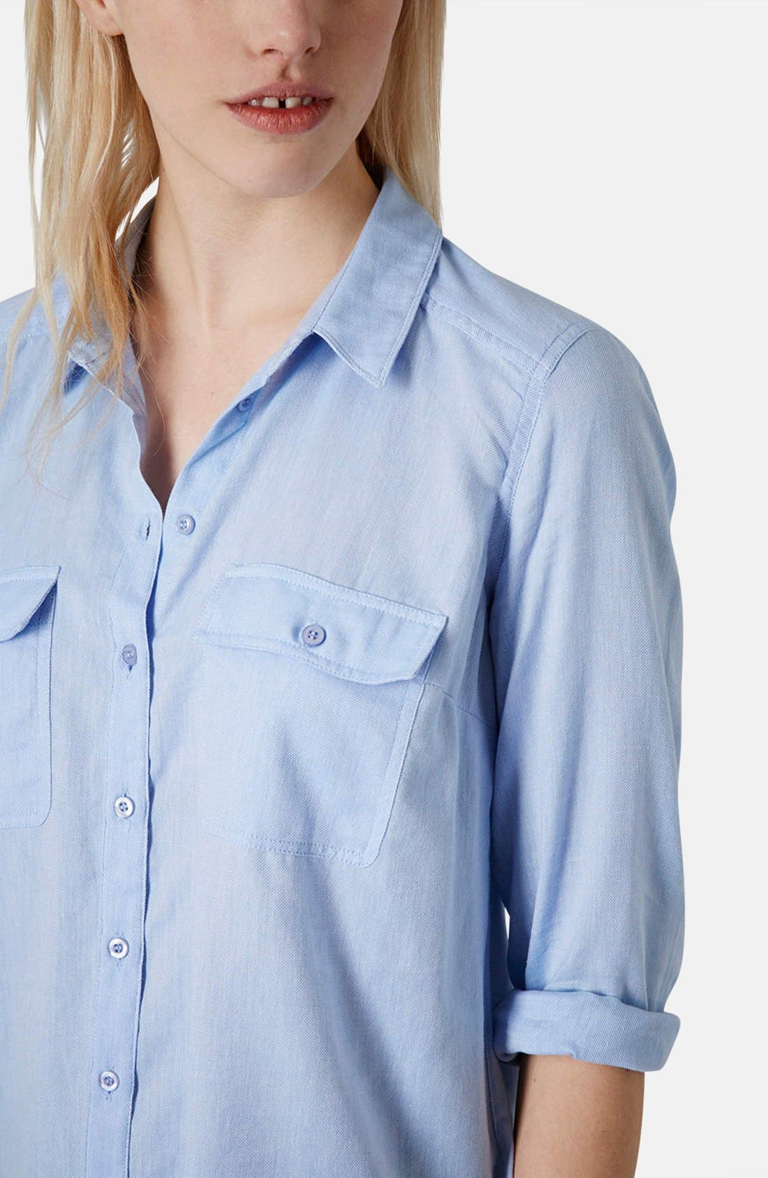 Alternate Image 3  - Topshop Chambray Utility Shirt