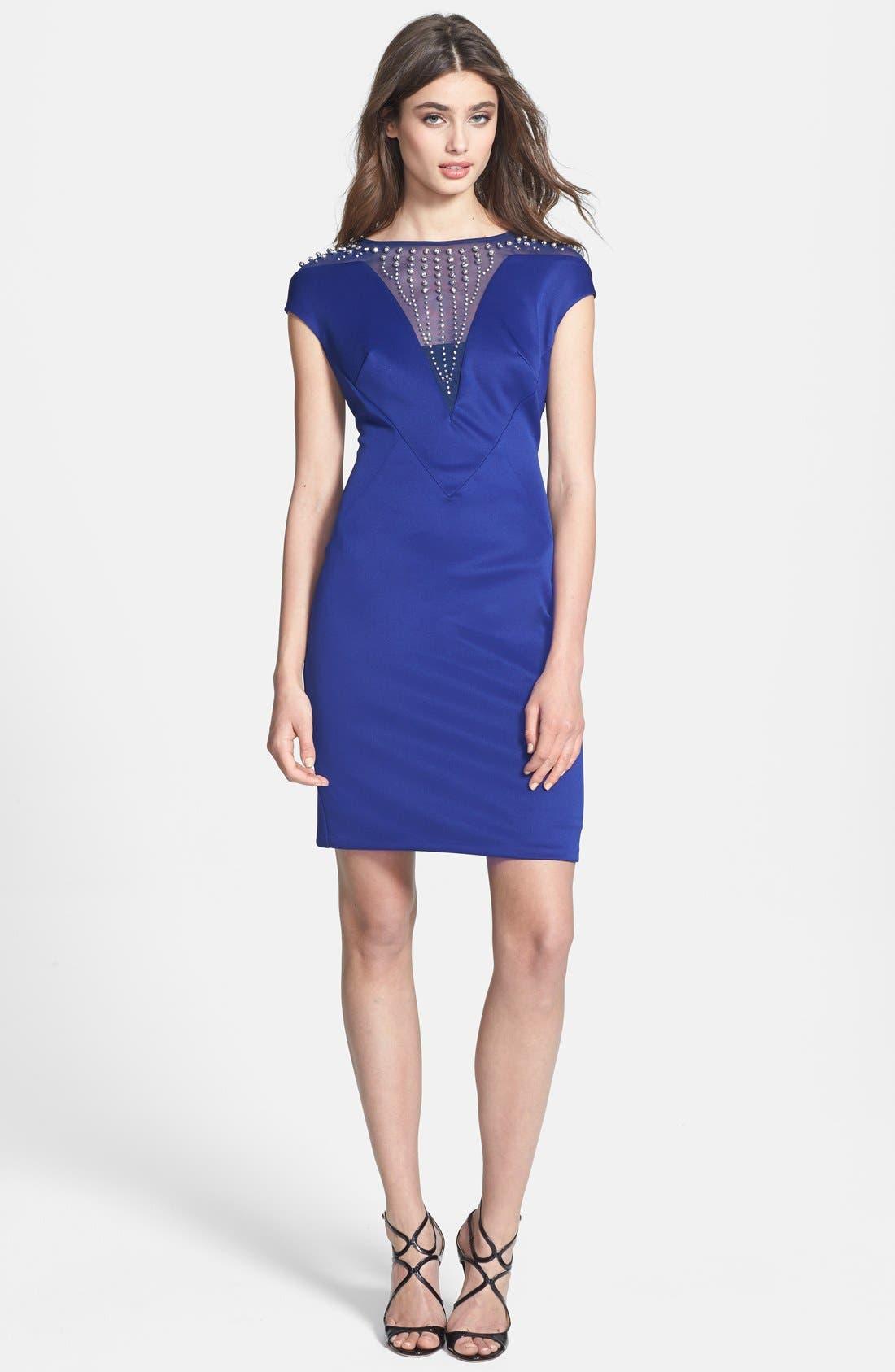 Alternate Image 3  - Alexia Admor Embellished Yoke Ponte Sheath Dress