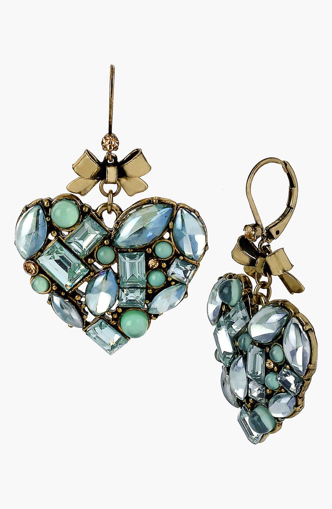 Alternate Image 1 Selected - Betsey Johnson 'Mint Multi' Heart Drop Earrings
