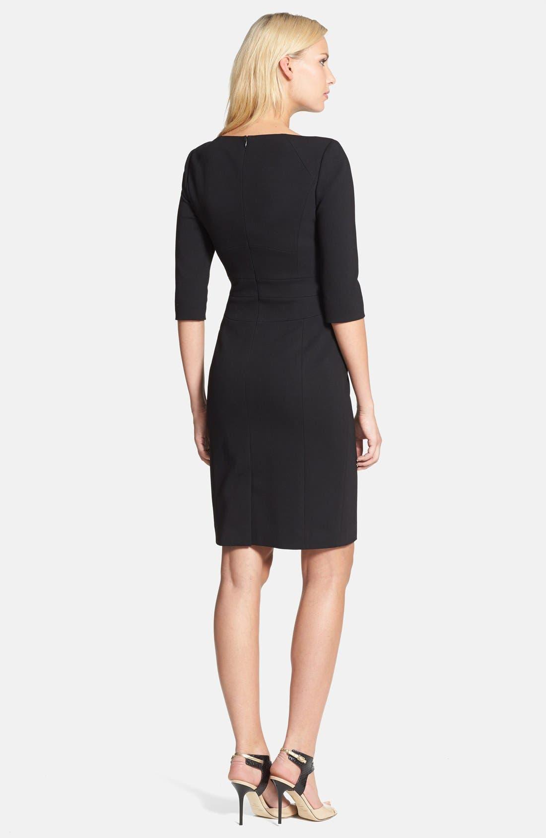 Alternate Image 2  - Classiques Entier® Three Quarter Sleeve Zip Front Italian Ponte Dress