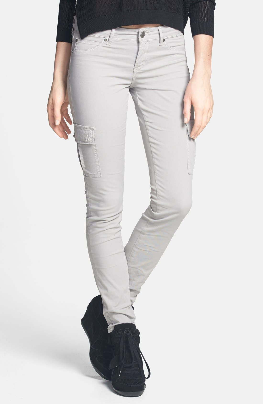 Alternate Image 1 Selected - Articles of Society 'Mya' Cargo Skinny Jeans (Grey) (Juniors) (Online Only)