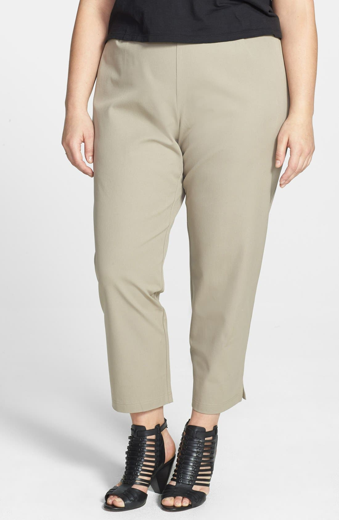 Alternate Image 1 Selected - Eileen Fisher Stretch Organic Cotton Ankle Pants (Plus Size)