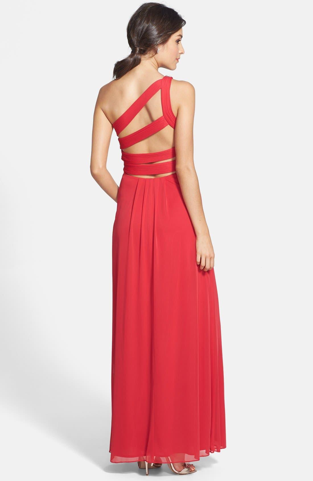 Alternate Image 2  - Xscape Embellished One-Shoulder Gown