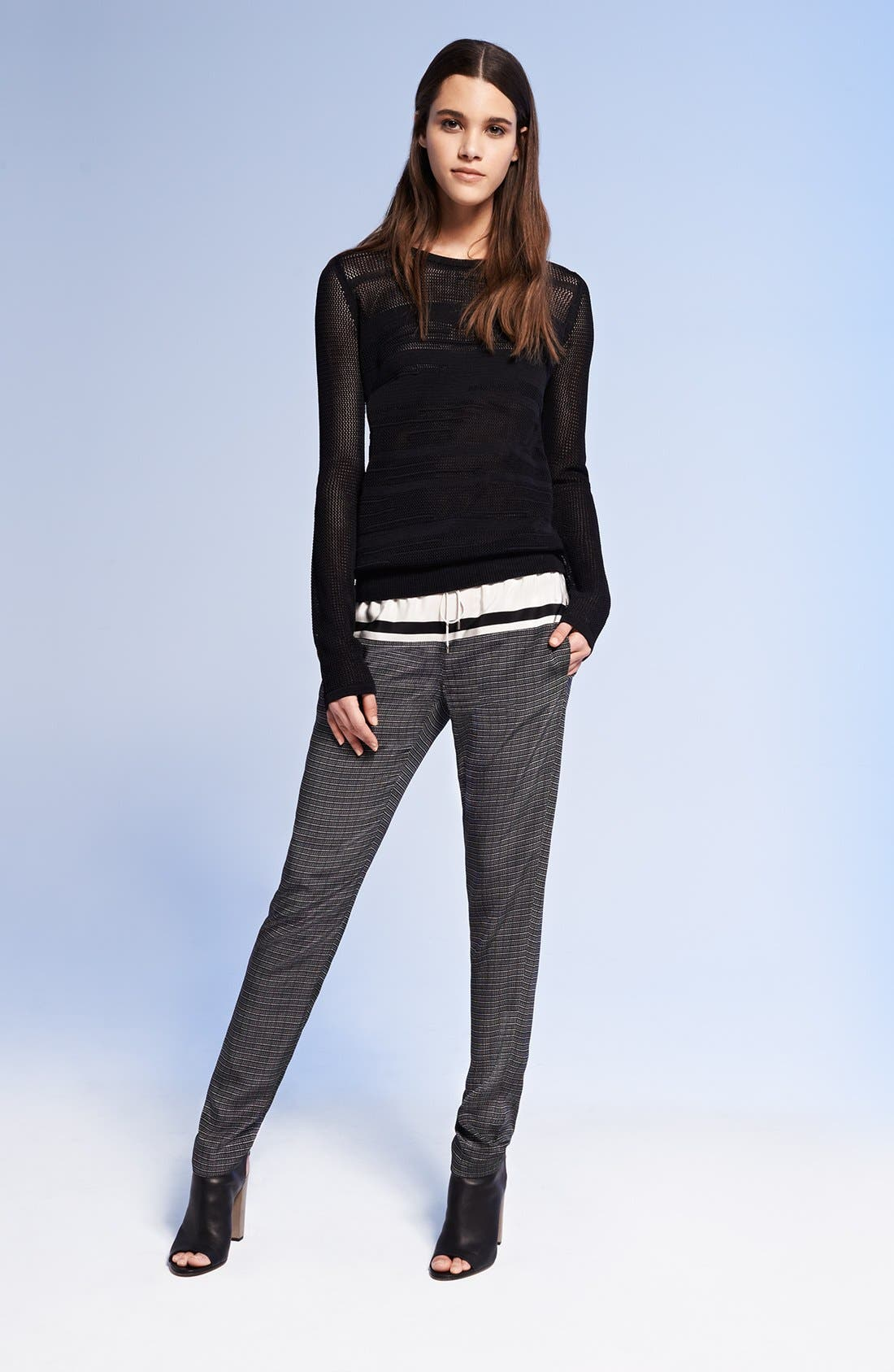 Alternate Image 1 Selected - Vince Mesh Sweater & Silk Pants