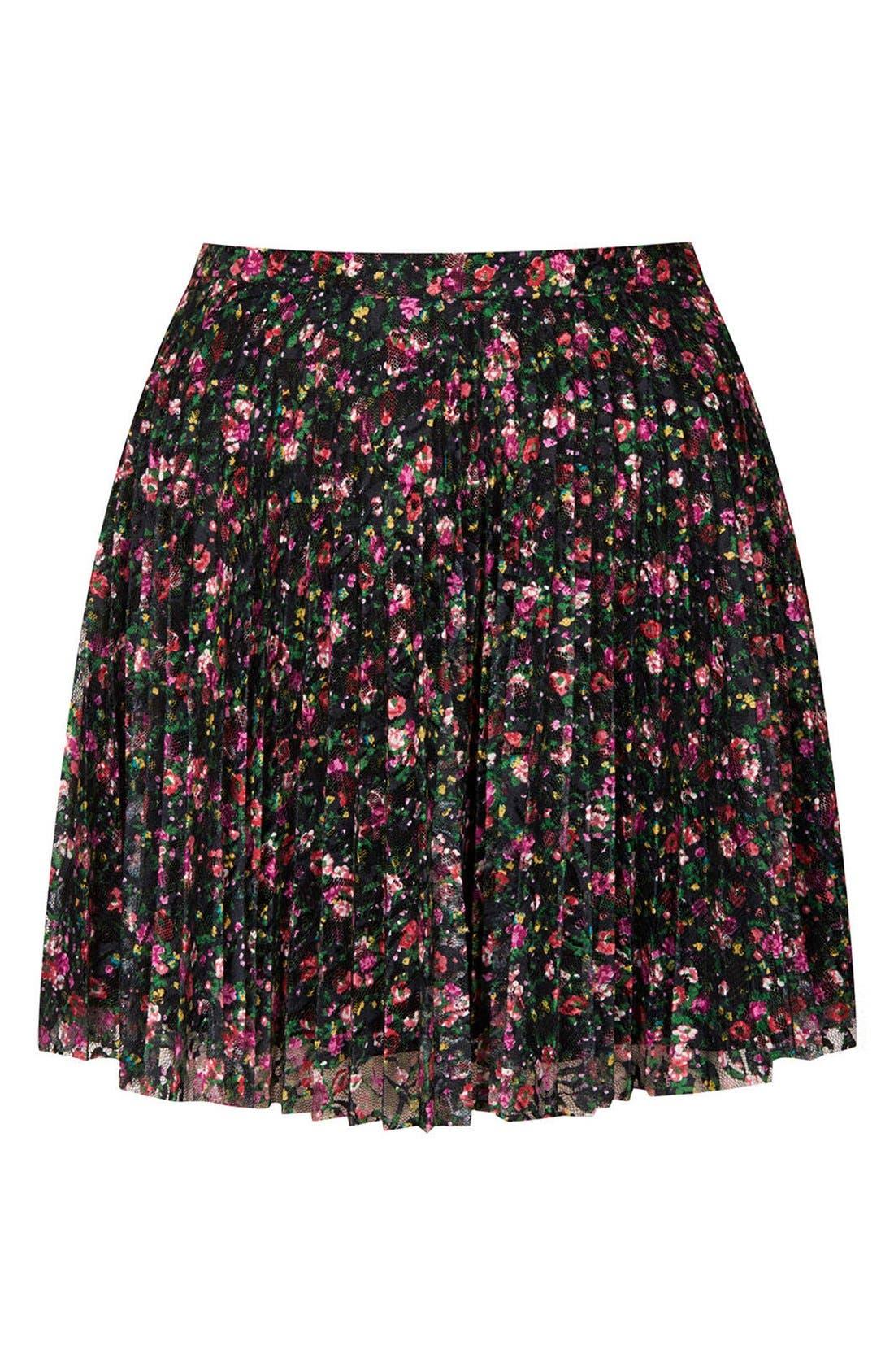 Alternate Image 3  - Topshop Floral Lace Pleat Miniskirt