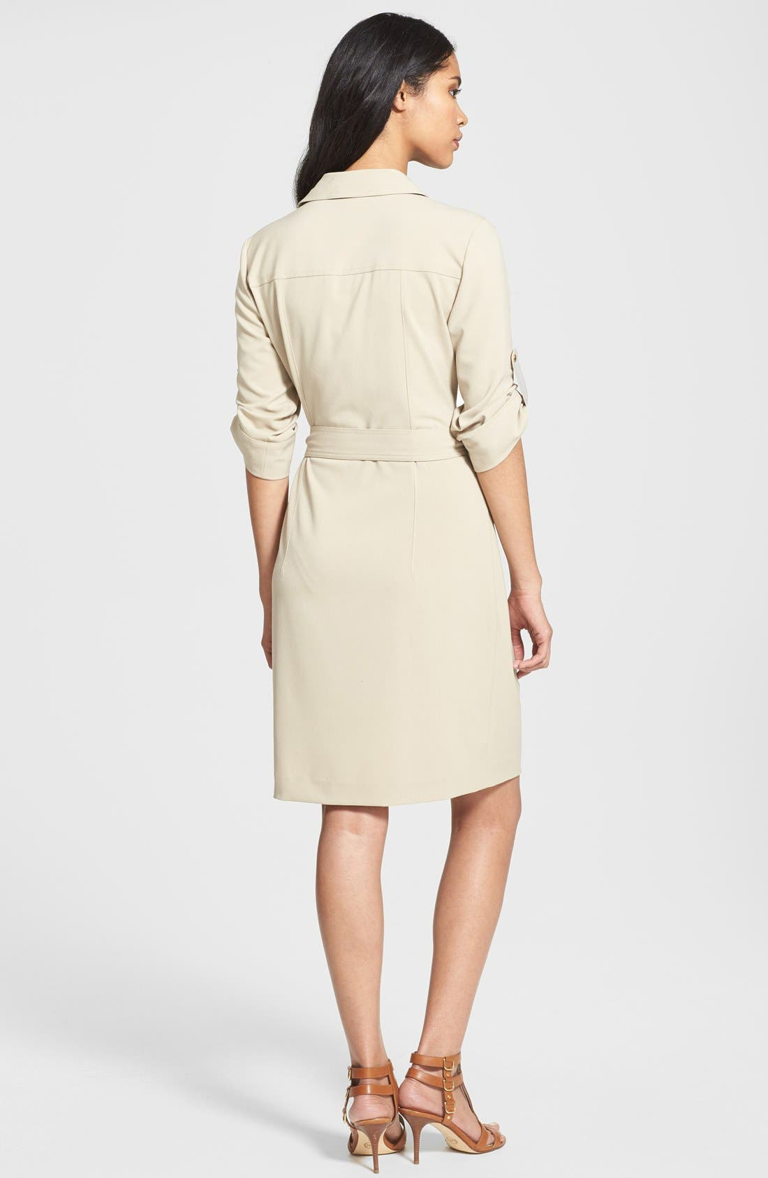 Alternate Image 2  - MICHAEL Michael Kors Roll Sleeve Belted Shirtdress (Regular & Petite)