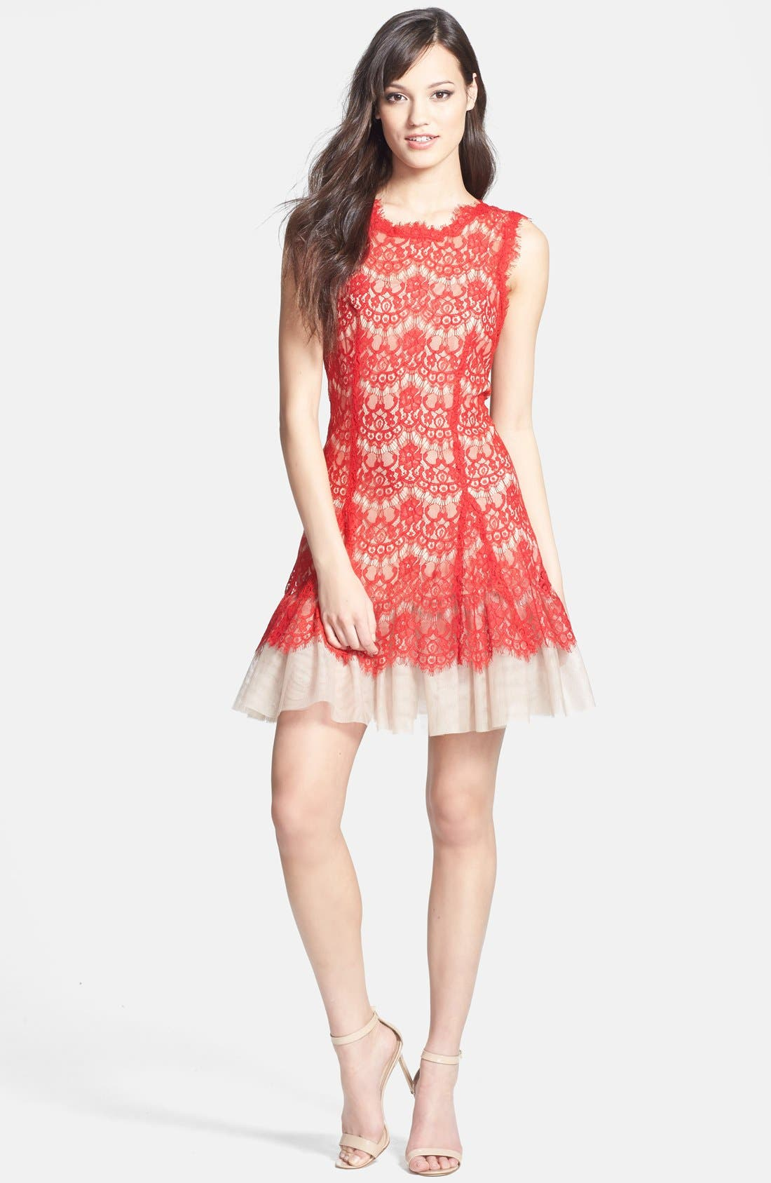 Alternate Image 3  - Betsy & Adam Sleeveless Lace Fit & Flare Dress