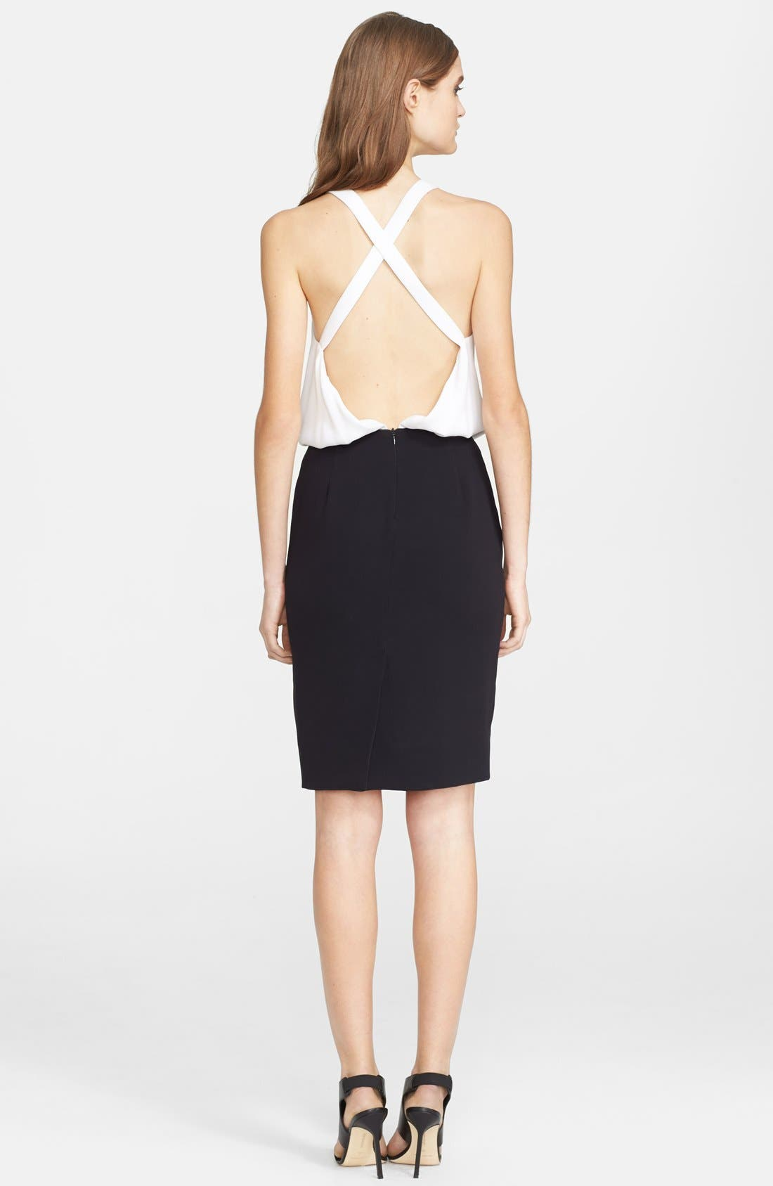 Open Back Crepe Blouson Dress,                             Alternate thumbnail 2, color,                             White/ Black