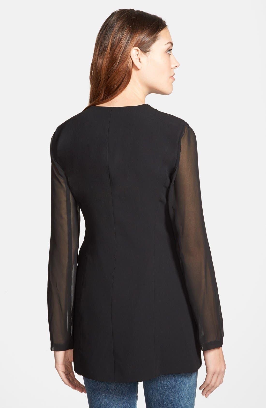 Sheer Sleeve Blazer,                             Alternate thumbnail 2, color,                             Black