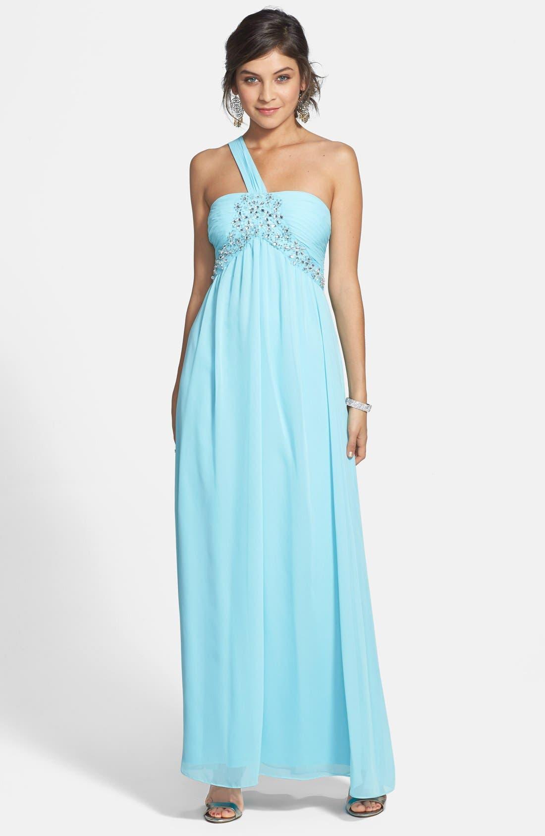 Alternate Image 1 Selected - Hailey Logan Embellished One-Shoulder Gown (Juniors)