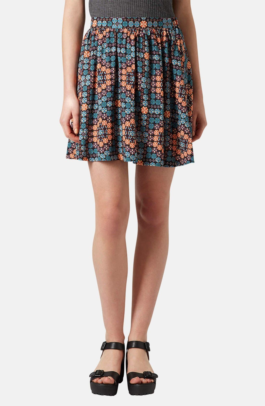 Alternate Image 1 Selected - Topshop 'Milly' Tile Print Skirt