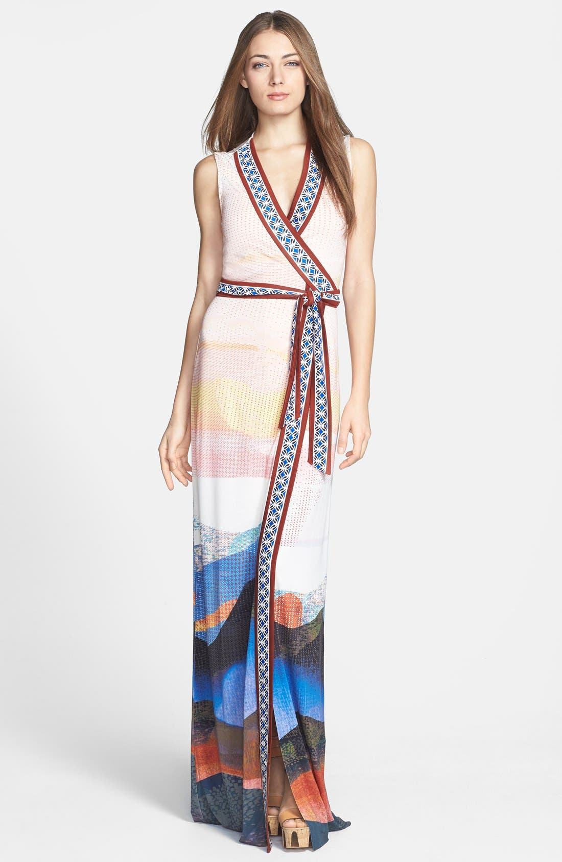 Alternate Image 1 Selected - Diane von Furstenberg 'New Yahzi' Silk Wrap Maxi Dress