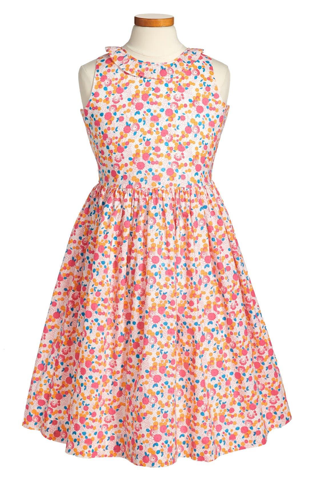 Alternate Image 1 Selected - Oscar de la Renta Ruffle Collar Dress (Toddler Girls, Little Girls & Big Girls)