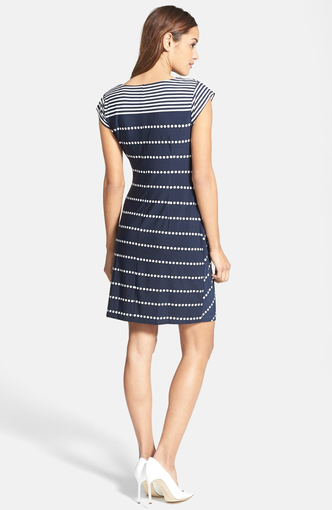 Alternate Image 2  - Taylor Dresses Side Tie Print Jersey Sheath Dress (Petite)