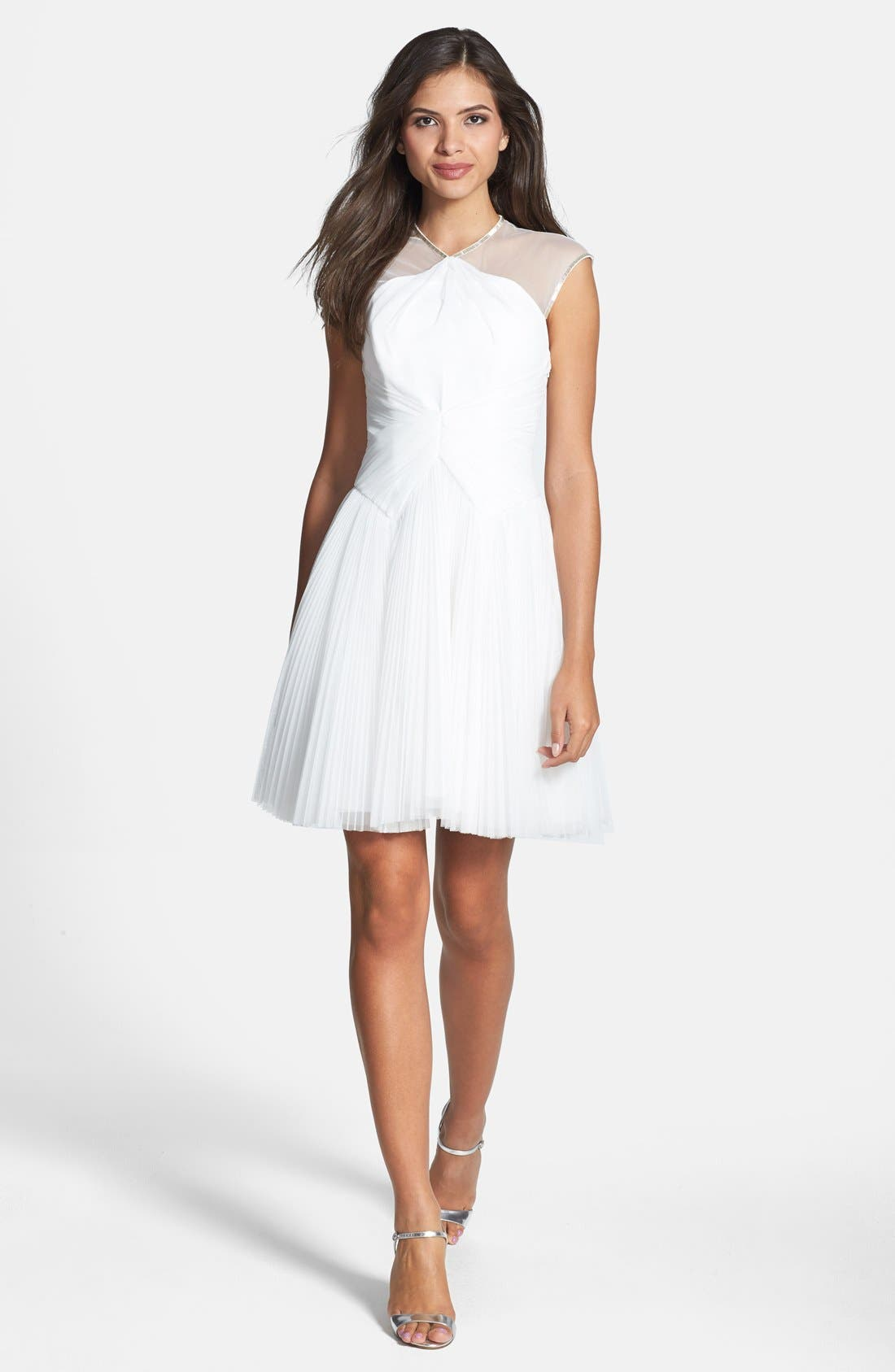 Alternate Image 3  - Ted Baker London 'Trixxy' Illusion Yoke Pleat Tulle Fit & Flare Dress