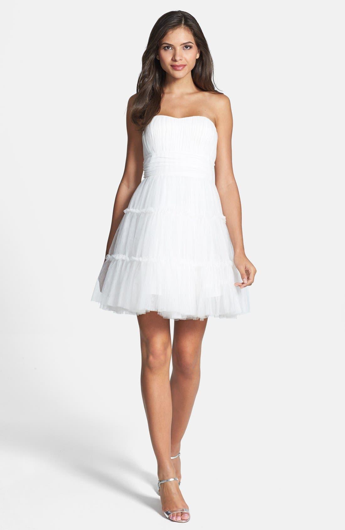 Alternate Image 2  - Aidan Mattox Tulle Fit & Flare Dress