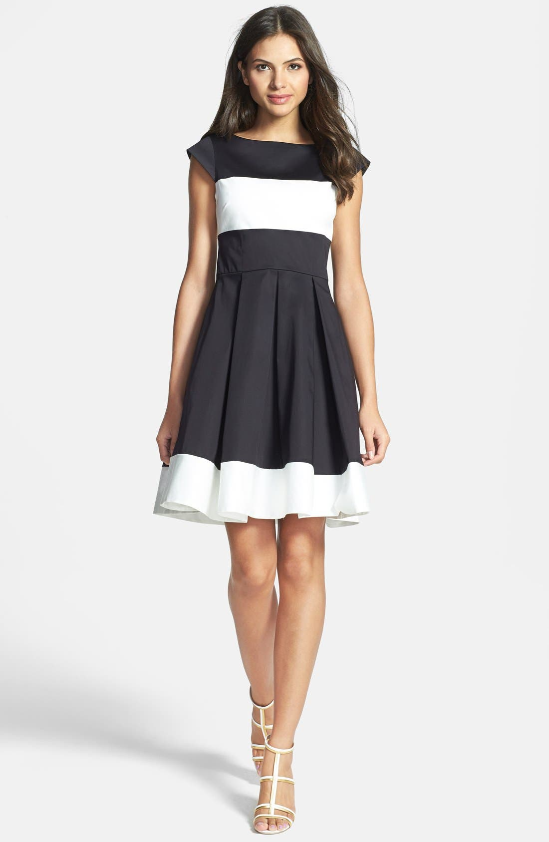 Main Image - kate spade new york 'adette' colorblock woven fit & flare dress