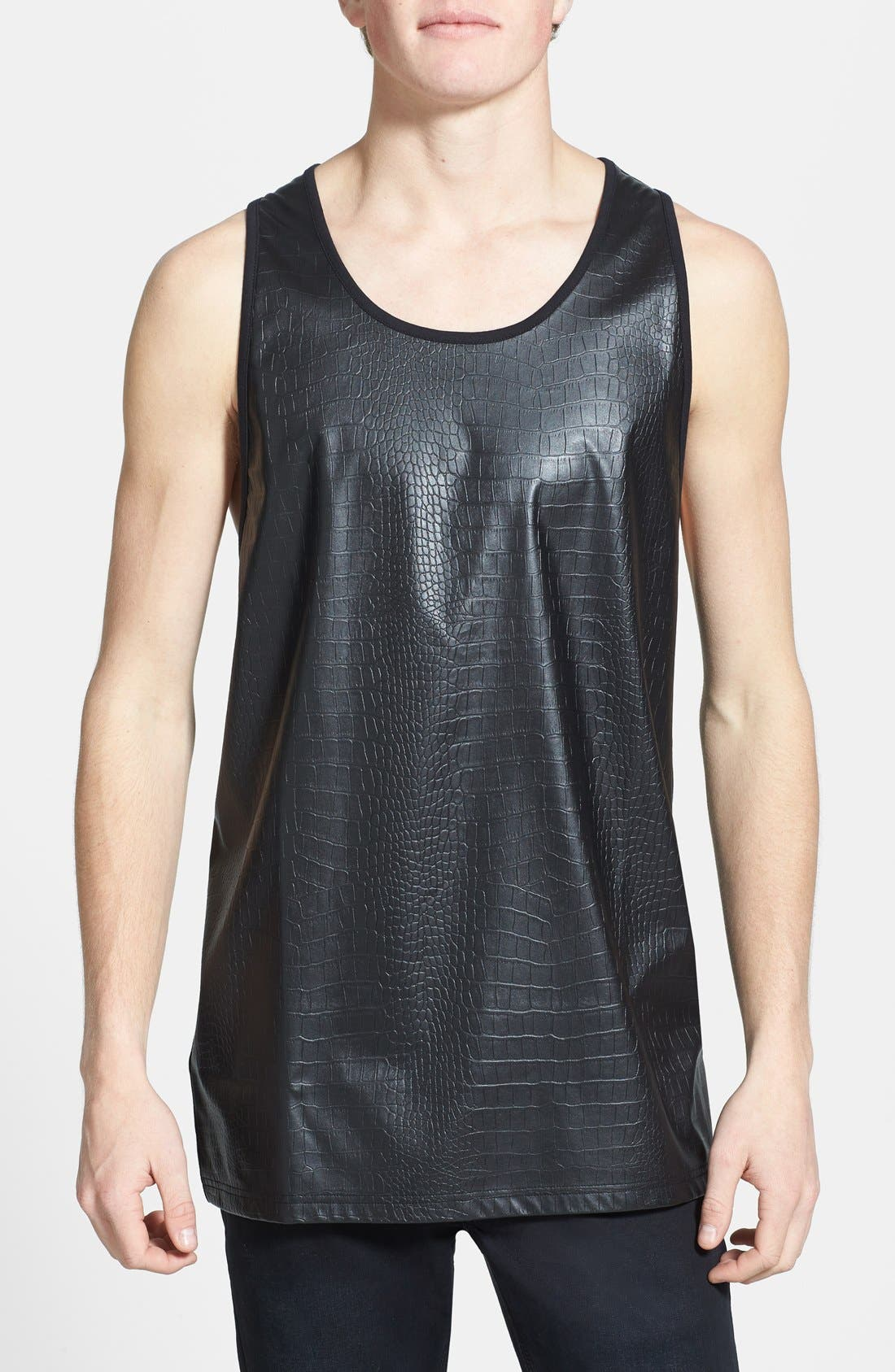 Main Image - Topman Croc Embossed Faux Leather Panel Tank Top
