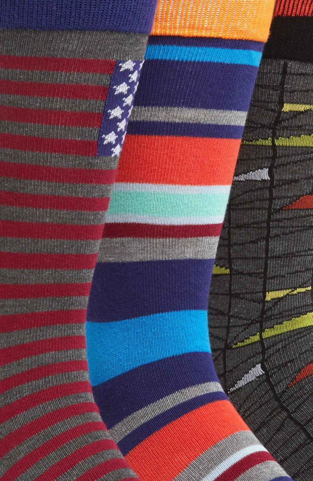 Alternate Image 2  - The Rail Patterned Crew Socks (Assorted 3-Pack)