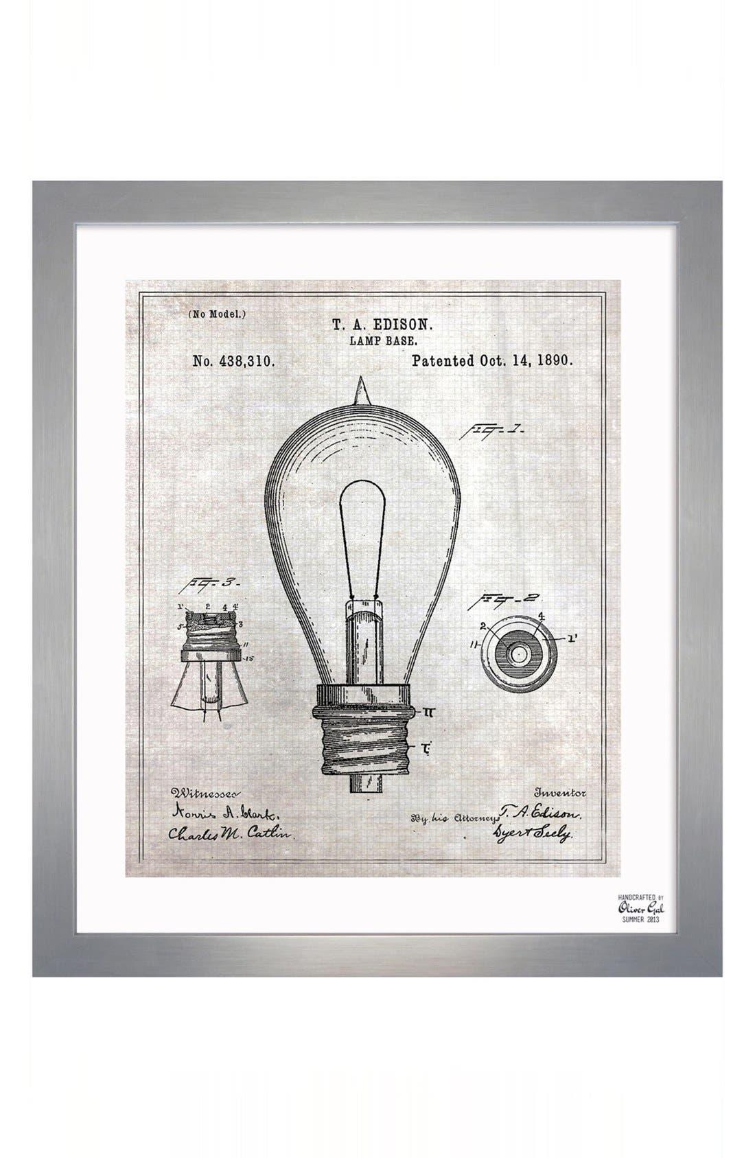 Main Image - Oliver Gal 'Edison Lamp Base' Wall Art