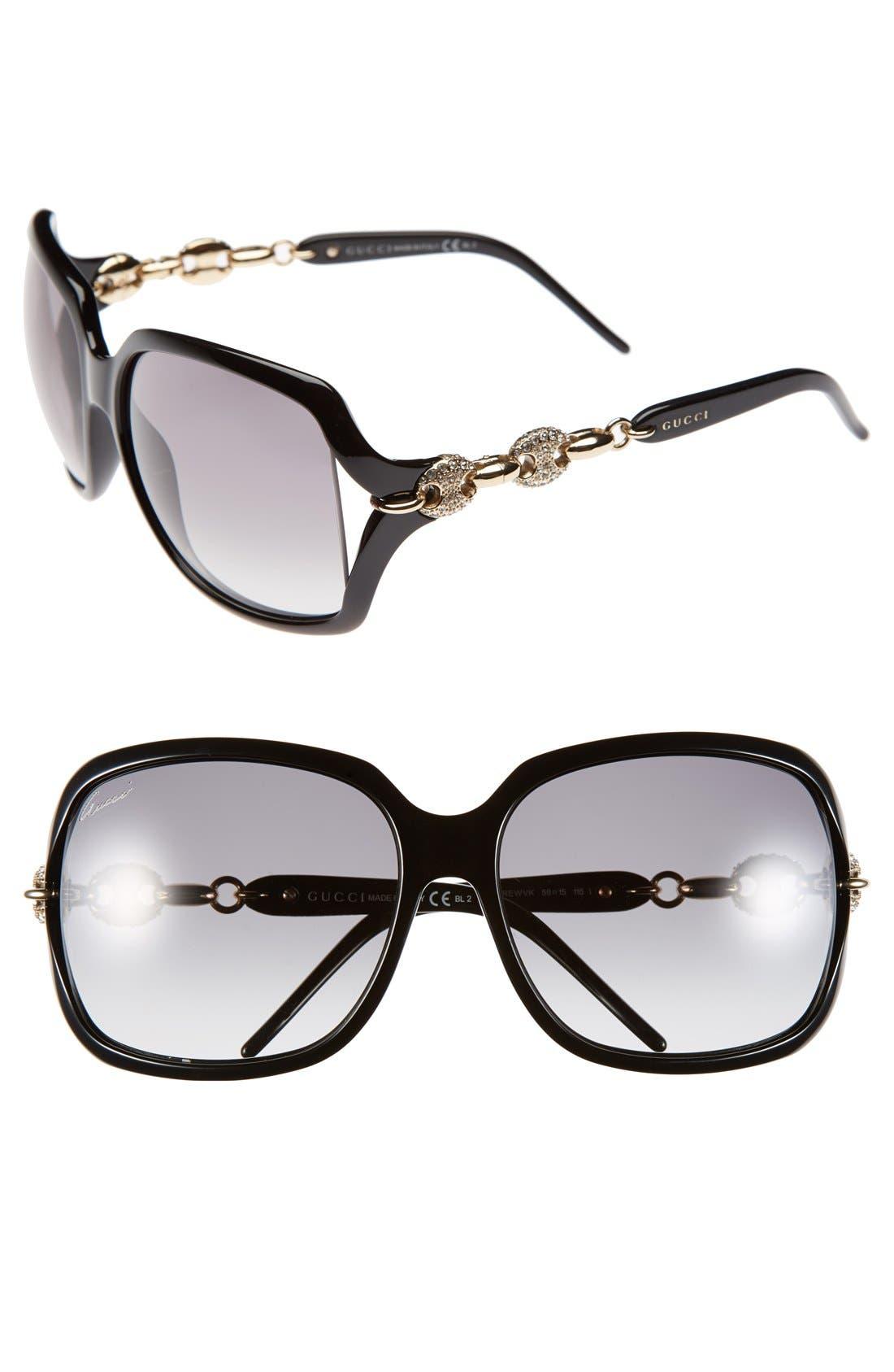 Alternate Image 1 Selected - Gucci 'Marina Chain' 59mm Swarovski Crystal Sunglasses