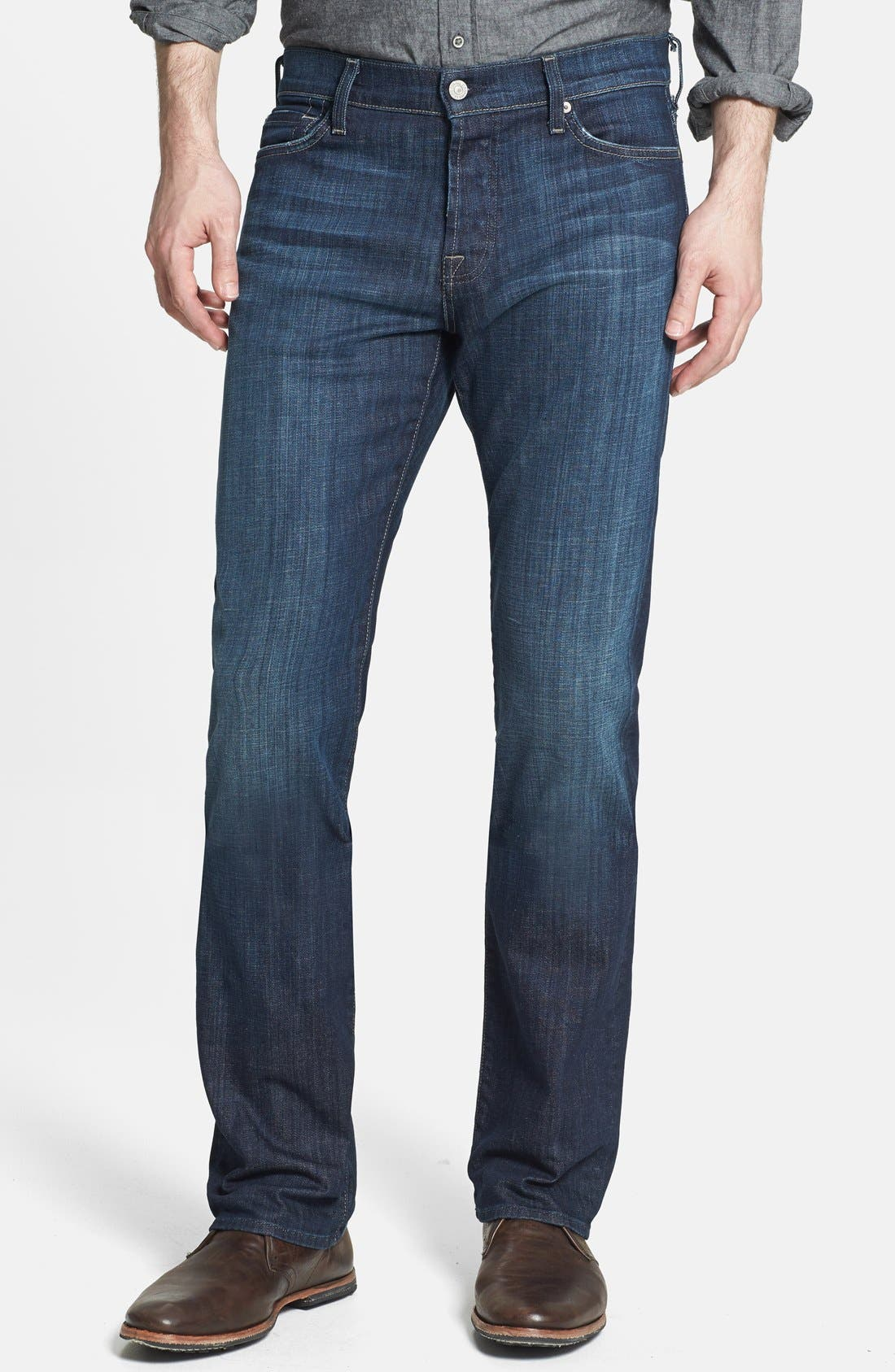 Main Image - 7 For All Mankind® 'Standard' Straight Leg Jeans (Los Angeles Dark)