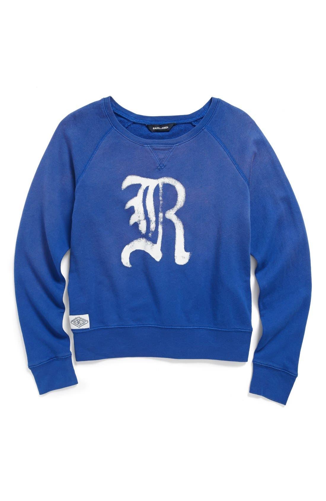 Main Image - Ralph Lauren Logo Sweatshirt (Big Girls)