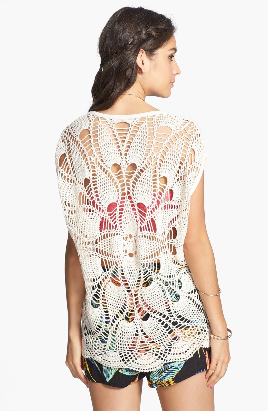 Alternate Image 2  - Volcom 'Dwell' Crochet Back Tee (Juniors)