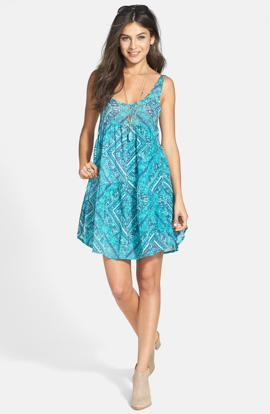 Main Image - Billabong 'Lay It Back' Print Trapeze Dress (Juniors)