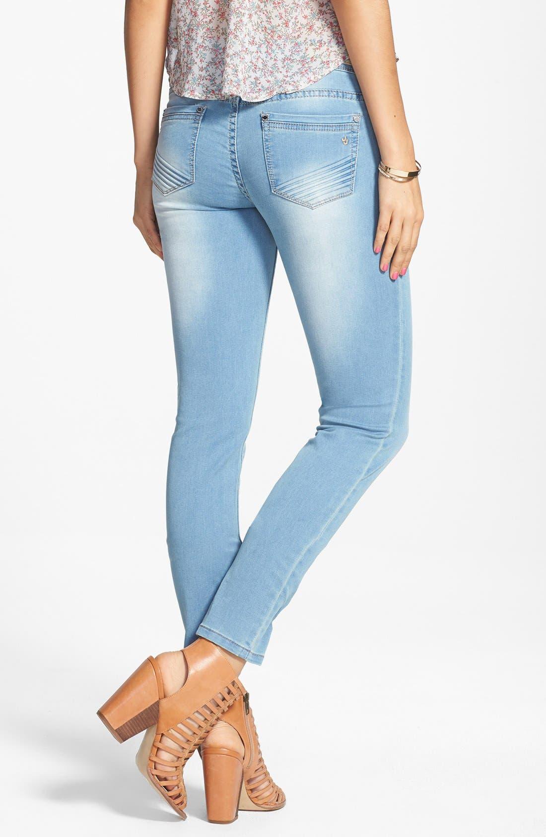 Alternate Image 2  - Jou Jou French Terry Knit Skinny Jeans (Juniors)