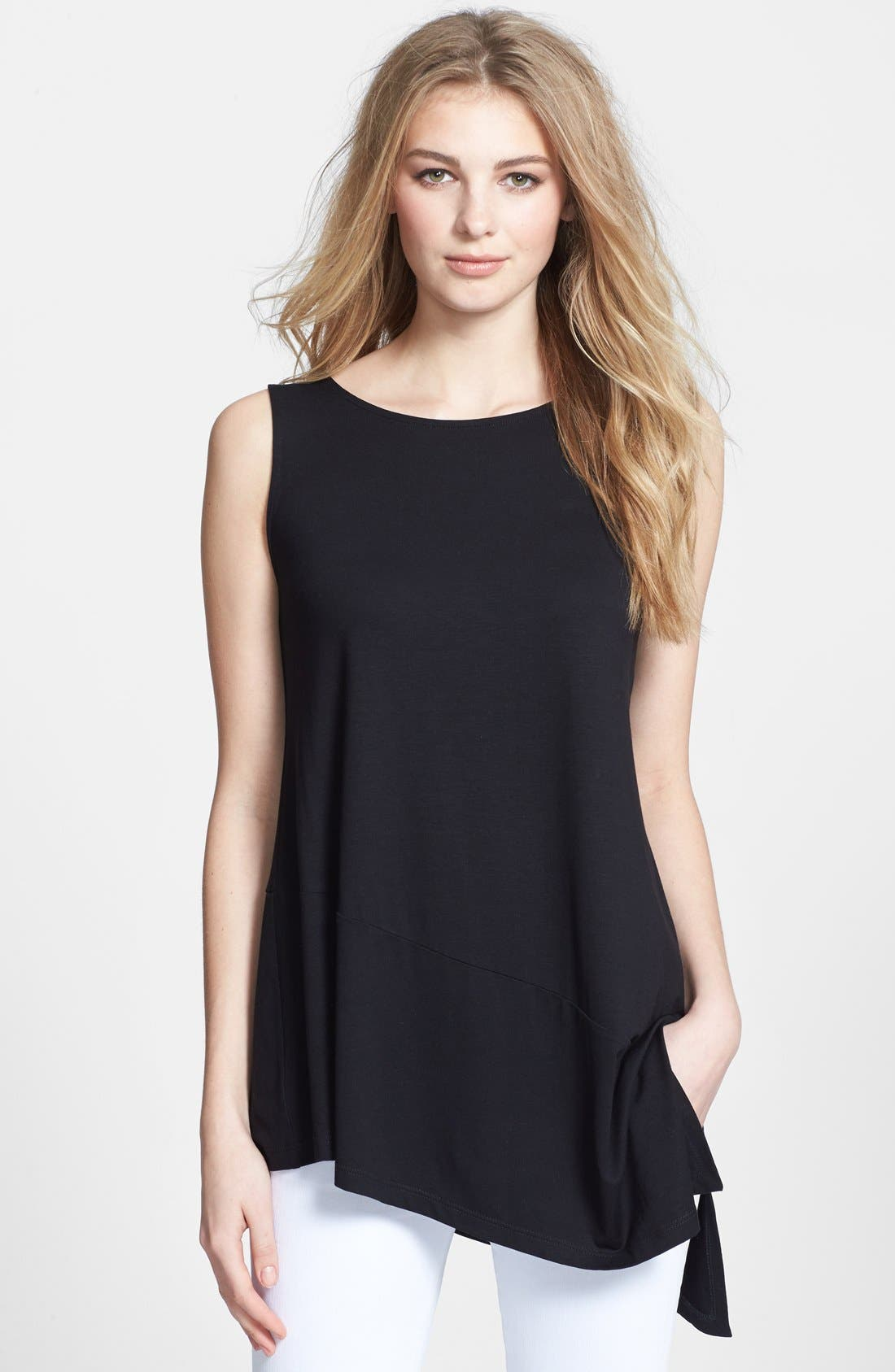 Alternate Image 1 Selected - Eileen Fisher Bateau Neck Sleeveless Tunic (Regular & Petite)