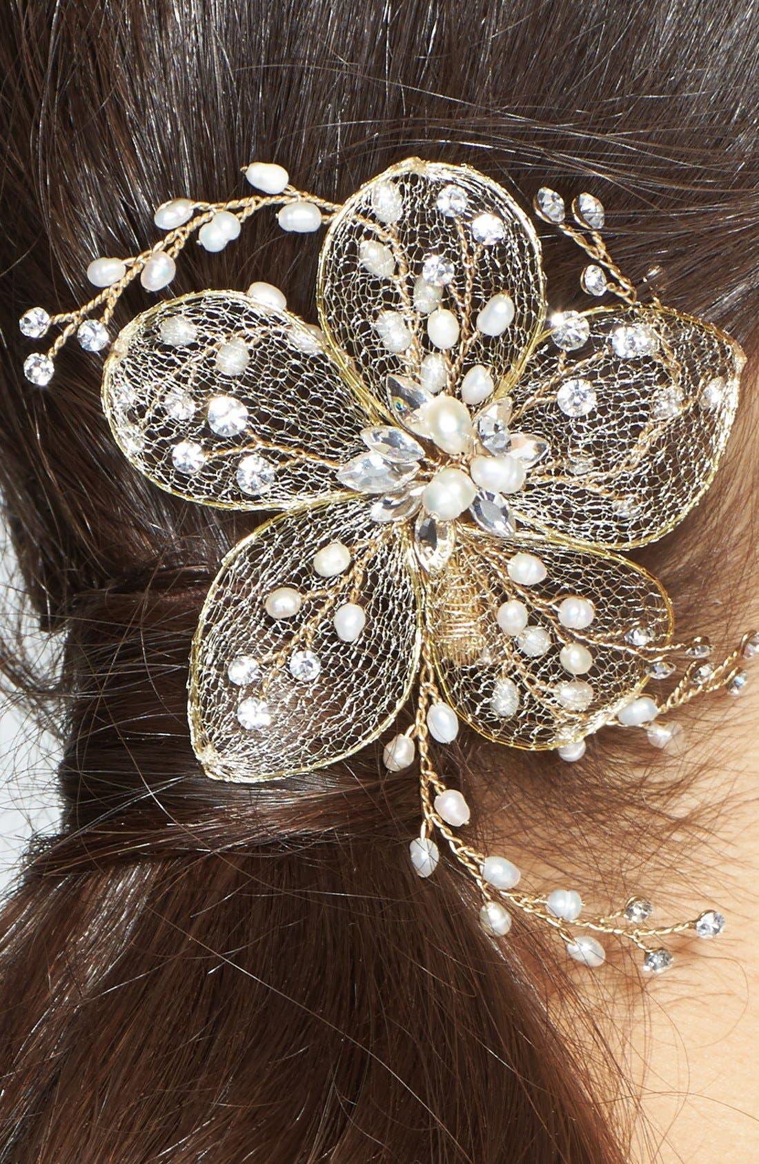 Alternate Image 2  - Nina Flower & Freshwater Pearl Hair Clip