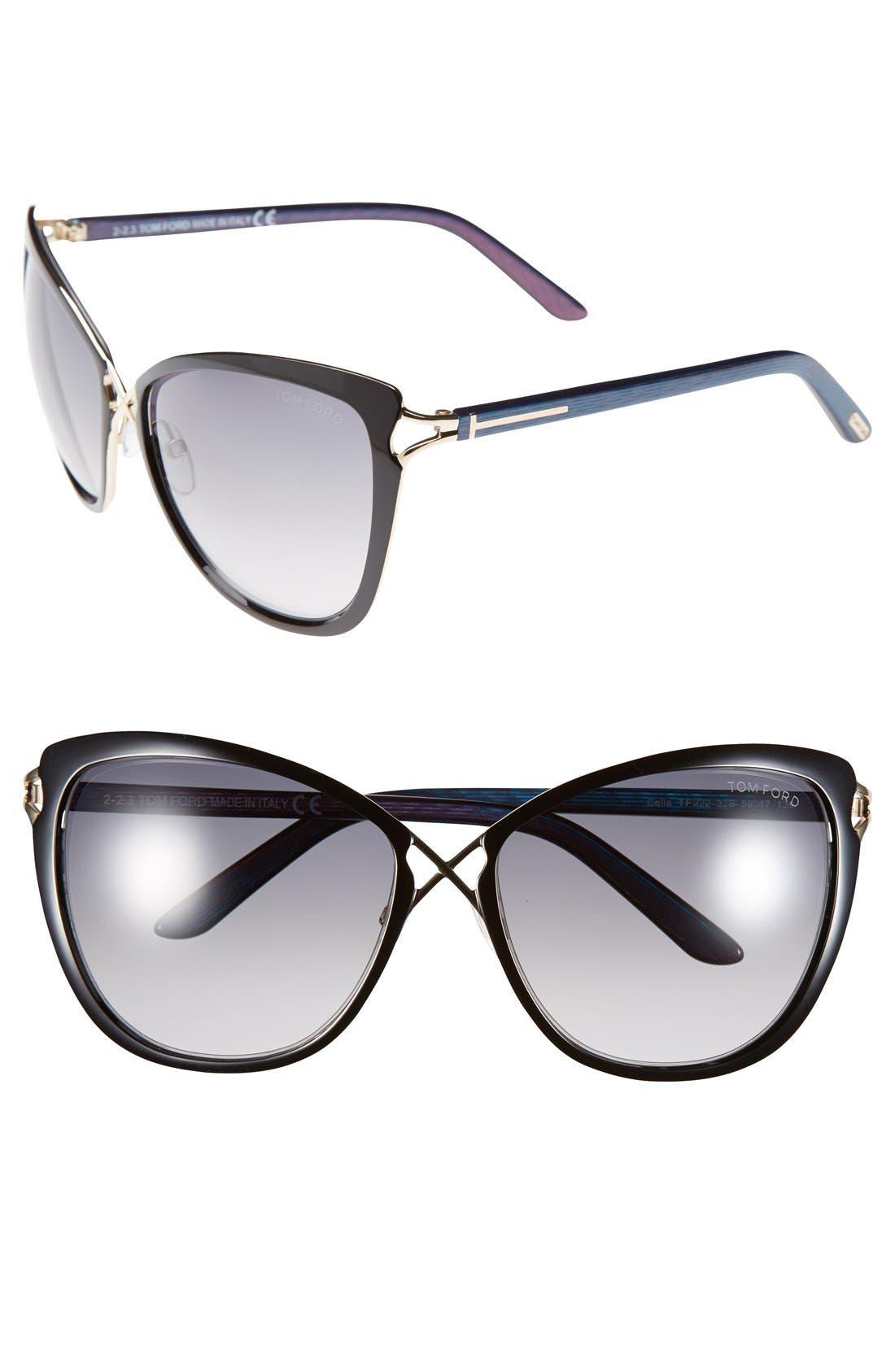 Main Image - Tom Ford 'Celia' 59mm Cat Eye Sunglasses