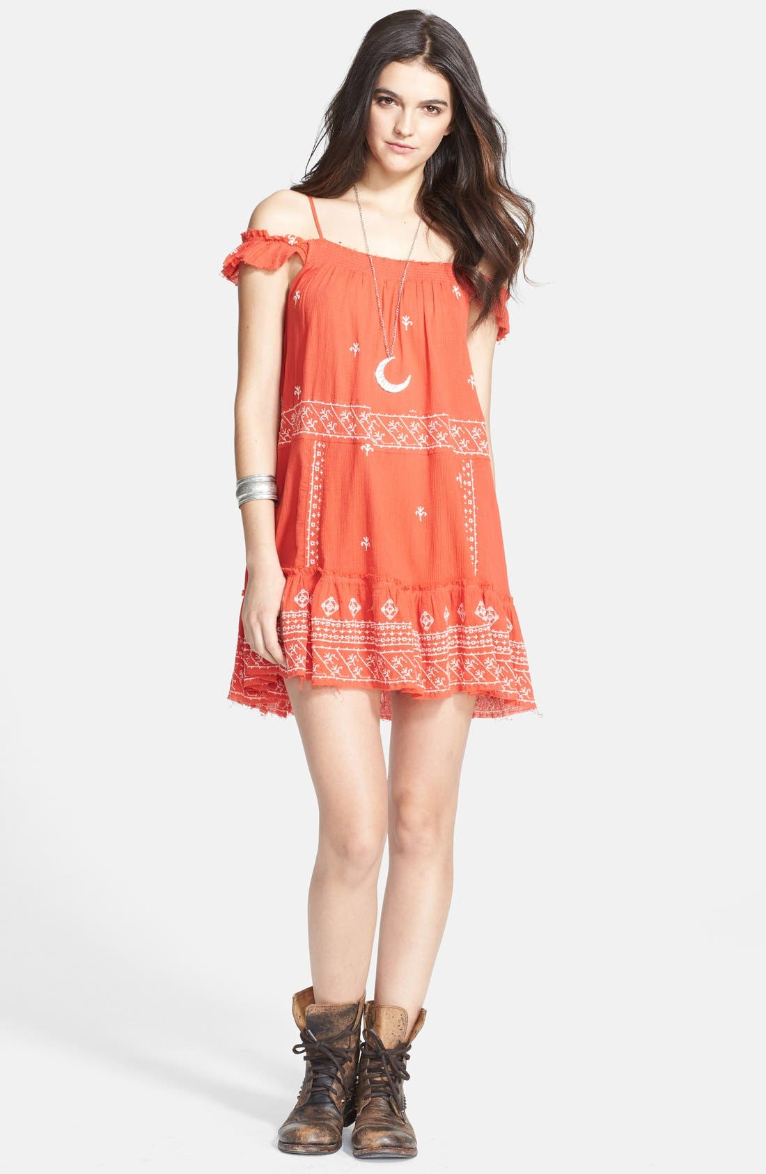 Alternate Image 1 Selected - Free People Embroidered Cotton Slip Dress