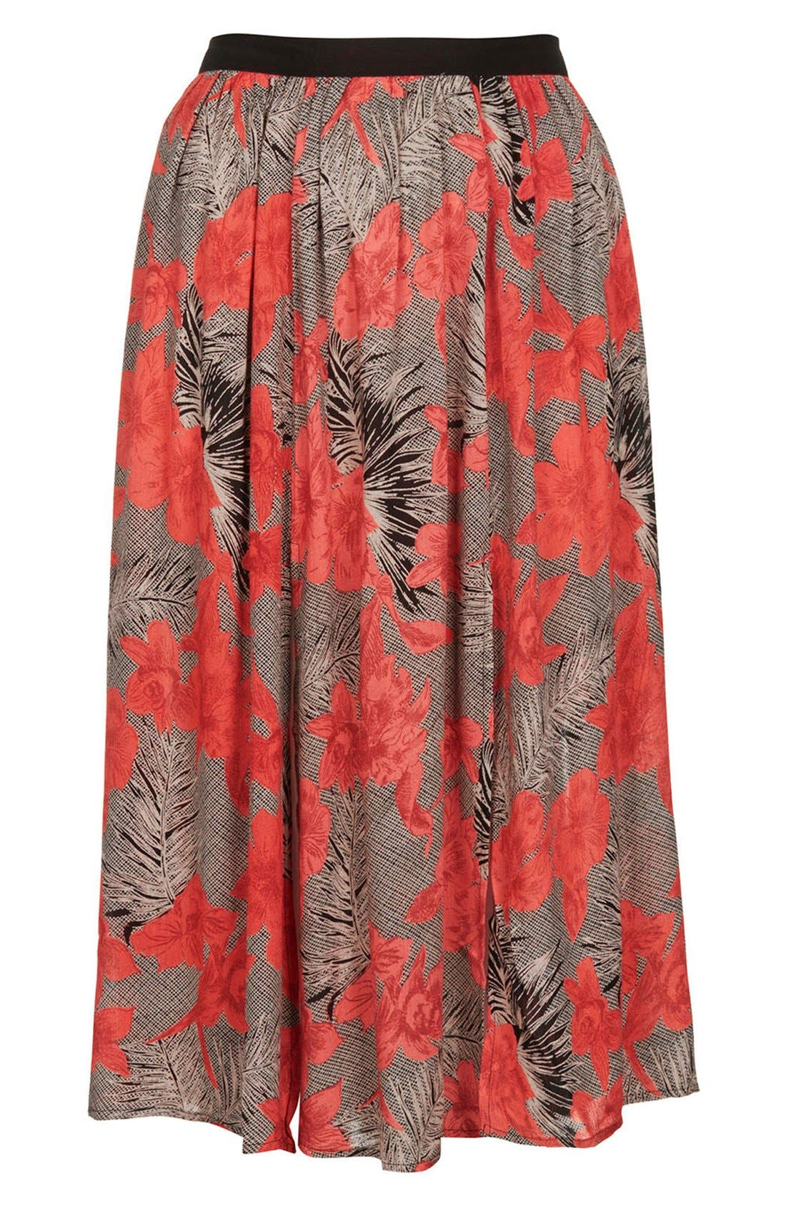 Floral Split Midi Skirt,                             Alternate thumbnail 3, color,                             Tan Multi