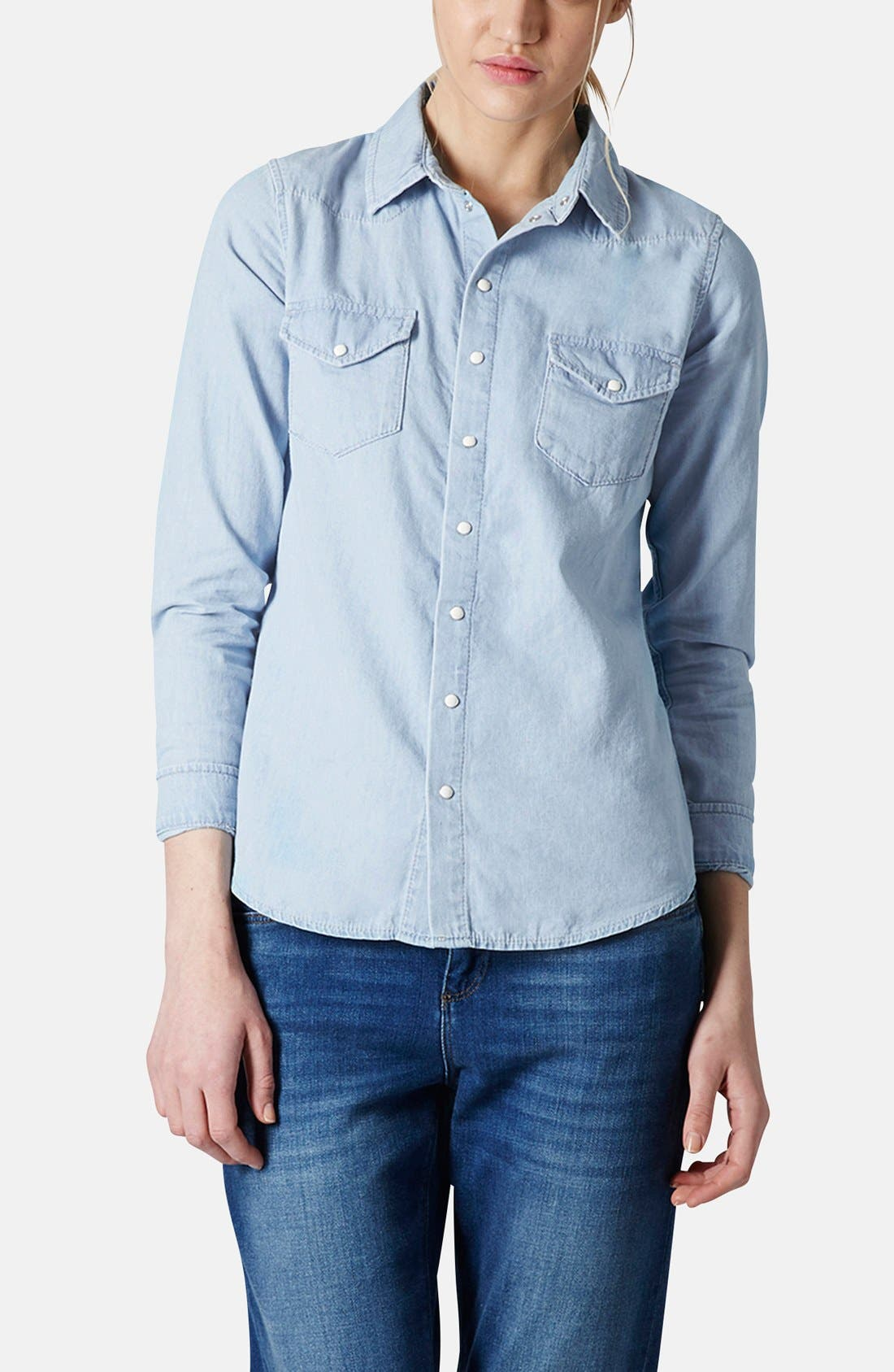 Alternate Image 1 Selected - Topshop Chambray Western Shirt