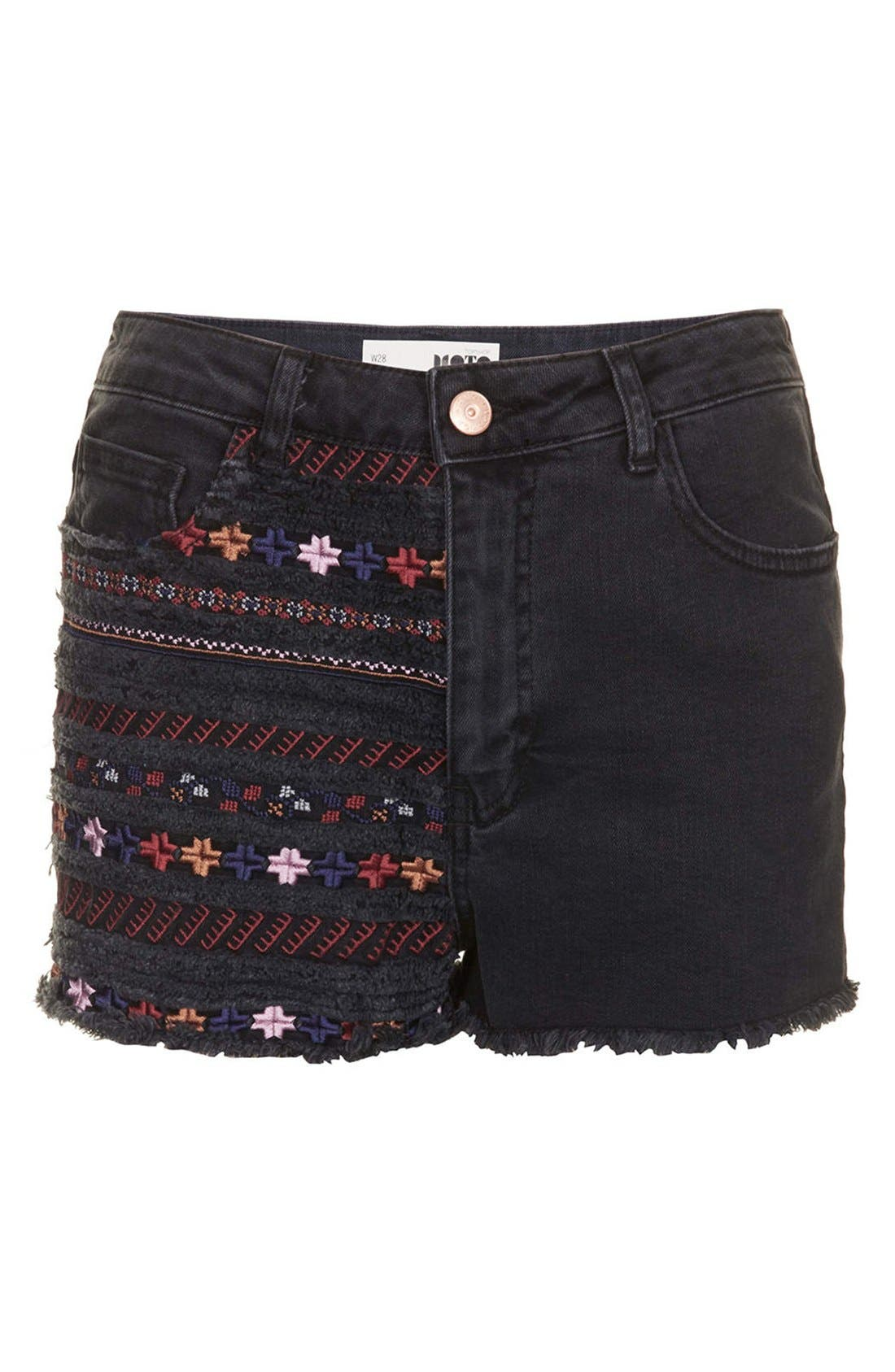 Alternate Image 3  - Topshop Moto Embroidered Denim Cutoff Shorts