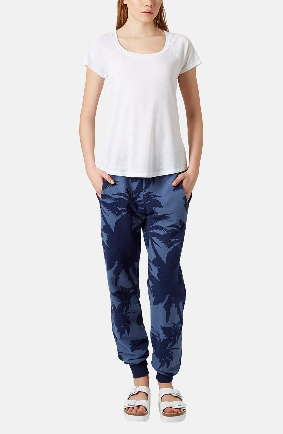 Alternate Image 5  - Topshop Palm Print Track Pants